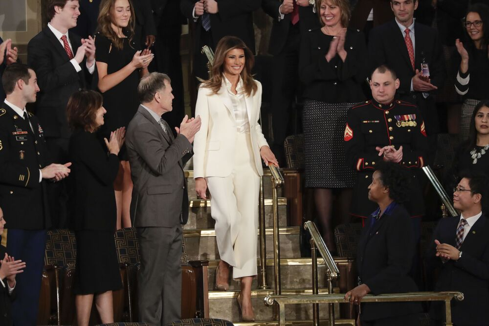 First lady Melania Trump arrives before the State of the Union address to a joint session of Congress on Capitol Hill in Washington, Tuesday, 30 January 2018.