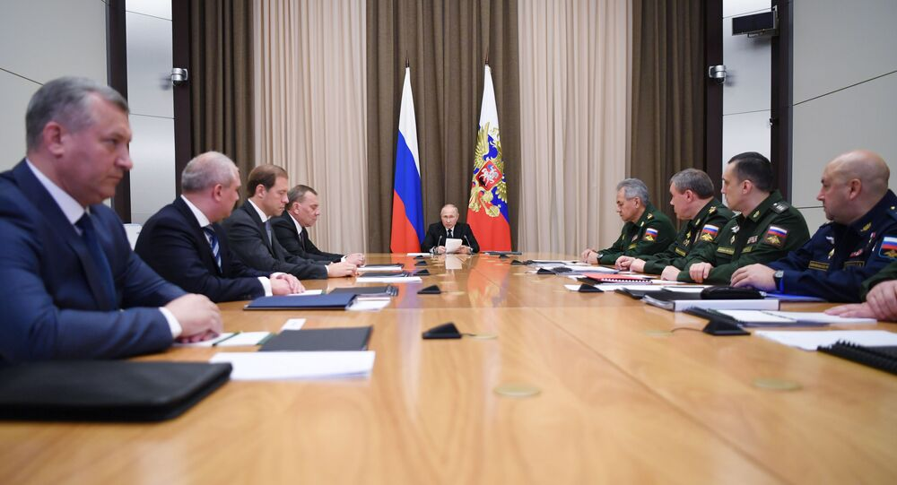 Russian President Vladimir Putin meets with the defenсe ministry leadership, heads of federal agencies and defenсe industry enterprises at the Bocharov Ruchei residence in the resort city of Sochi, Russia.