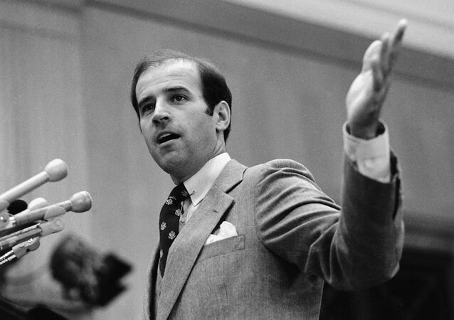 Senator Joseph Biden, D-Del., tells a Washington press conference Tuesday, Oct. 9, 1979 that ratification of the Salt II treaty is vital to American security. Biden is chairman of the Foreign Subcommittee on Europe Affairs.