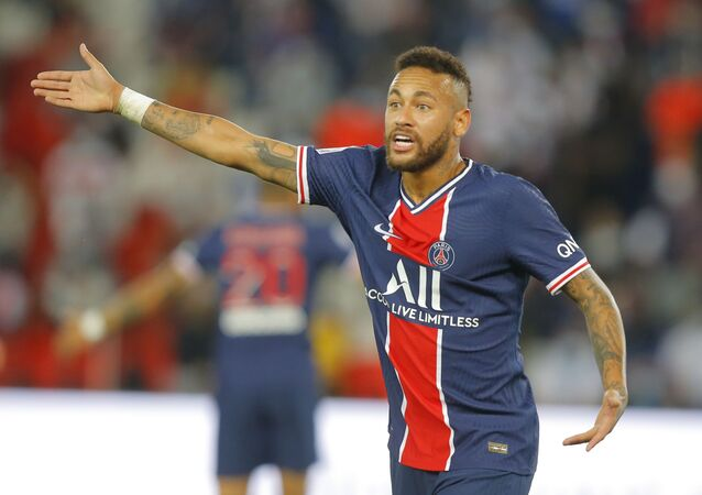 PSG's Neymar during the French League One soccer match between Paris Saint-Germain and Marseille at the Parc des Princes in Paris, France, Sunday, Sept.13, 2020