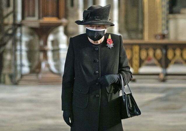 Britain's Queen Elizabeth II attends a ceremony to mark the centenary of the burial of the Unknown Warrior, in Westminster Abbey, London, 4 November 2020