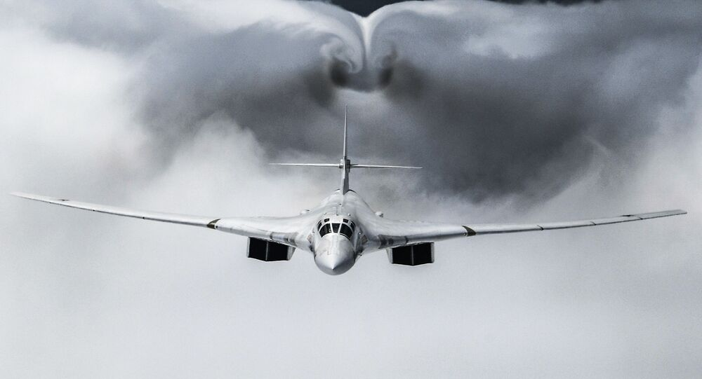 A Tupolev Tu-160 strategic bomber during a flypast in Moscow during the military parade to commemorate the 75th anniversary of victory over Germany in World War II