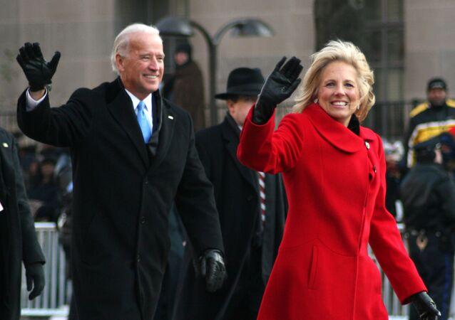 President Joe Biden and his wife Jill walk along Pennsylvania Avenue on Tuesday, 20 January 2009, in Washington, DC, US, during Barack Obama's inaugural parade.