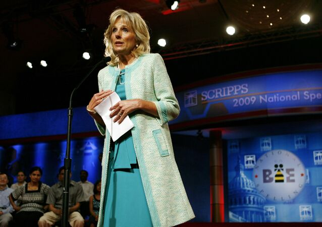Jill Biden, wife of Vice President Joe Biden, speaks at the opening of the finals of the Scripps National Spelling Bee, in Washington, on Thursday, May 28, 2009.