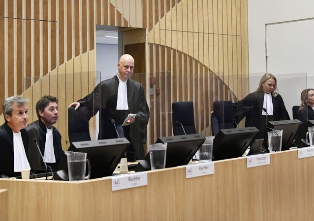 Judge Hendrik Steenhuis arrives to attend the hearing in trial of the Malaysia Airlines flight MH17 on September 28, 2020 in the high-security courtroom of the Schiphol Judicial Complex, in Badhoevedorp, where the lawsuit about the downing of flight MH17 continues.
