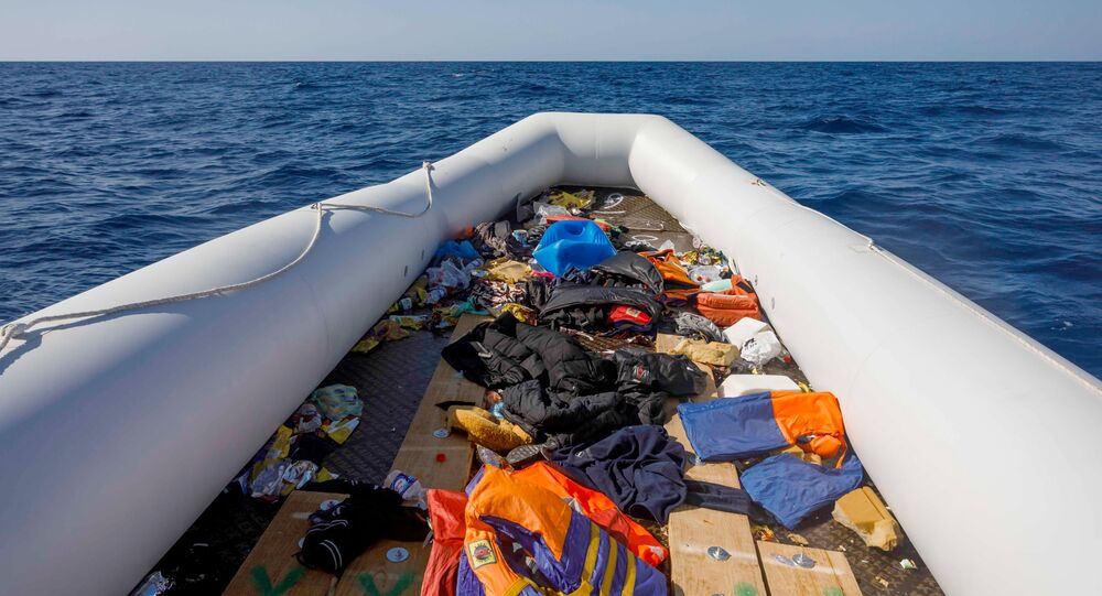 Picture shows an empty inflatable boat following the rescue of about 90 migrants by the Spanish NGO Maydayterraneo in the Mediterranean open sea off the Libyan coast on February 9, 2020.
