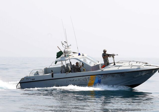 Members of Saudi border guard patrol the area surrounding of the Ashiq island, in the southern Jizan province near the border with Yemen on April 1, 2015.