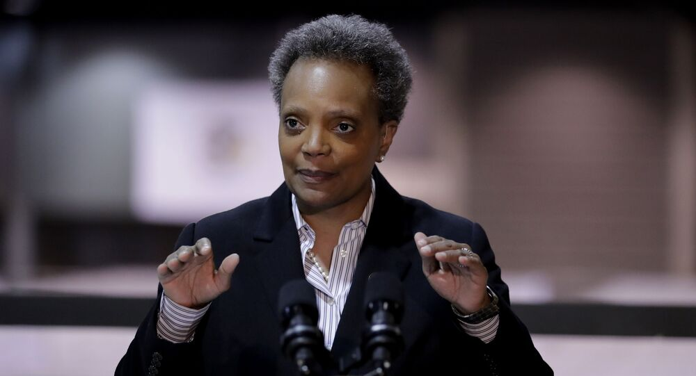 File-In this April 10, 2020 file photo Chicago Mayor Lori Lightfoot speaks during a news conference in Hall A at the COVID-19 alternate site at McCormick Place in Chicago.