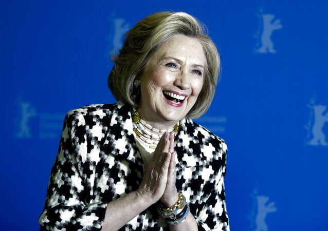 Former US Secretary of State Hillary Clinton poses for photographers during a photo-call for the film 'Hillary' ' during the 70th Berlin International Film Festival in Germany, Tuesday, 25 February 2020