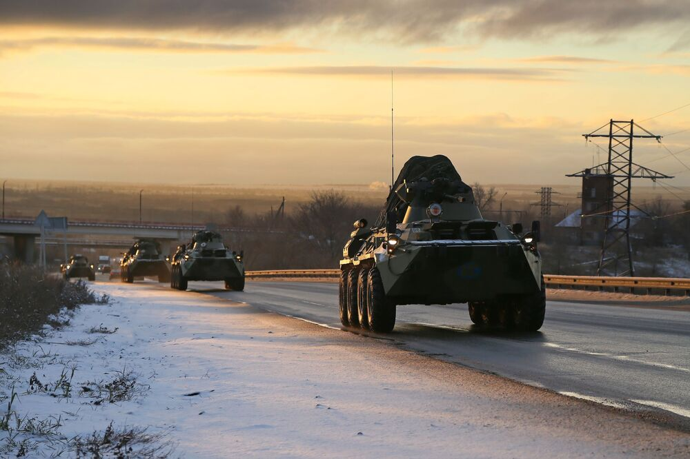 A Russian peacekeeping convoy passes the Samara region on their way to Nagorno-Karabakh.