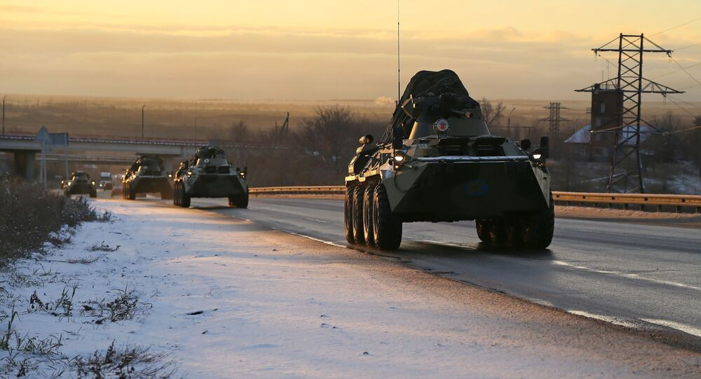 A Russian peacekeeping convoy passes the Samara region on their way to Nagorno-Karabakh