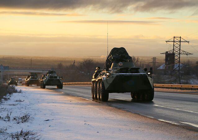 A Russian peacekeeping convoy passes the Samara region on their way to Nagorno-Karabakh