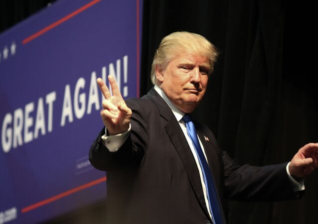 Republican presidential nominee Donald Trump gestures after speaking at a campaign rally inside the Cabarrus Arena 7 Events Center in Concord, North Carolina on November 3, 2016