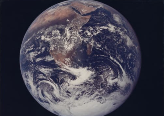 The Blue Marble, the first fully illuminated photo of Earth taken by a human in 1972.