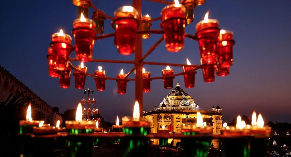 Illuminated Akshardham temple is seen on the eve of Diwali, the Hindu festival of lights, amidst the spread of COVID-19, in Gandhinagar, India, November 13, 2020.