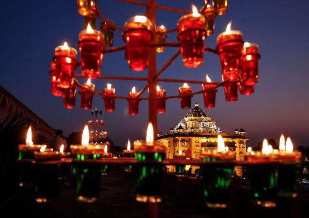 Illuminated Akshardham temple is seen on the eve of Diwali, the Hindu festival of lights, amidst the spread of COVID-19, in Gandhinagar, India, 13 November 2020.