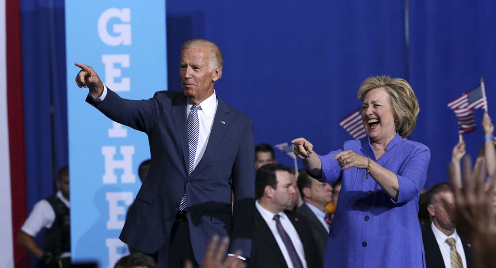Democratic presidential candidate Hillary Clinton, right, and Vice President Joe Biden wave as they arrive at a campaign rally Monday, Aug. 15, 2016, in Scranton, Pa.