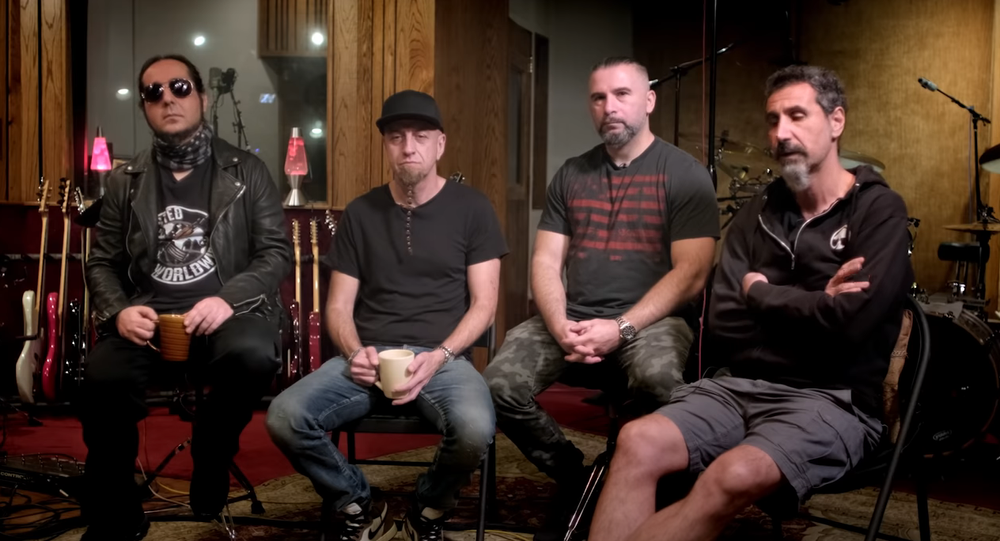 System Of A Down give an interview on the release of their new singles.