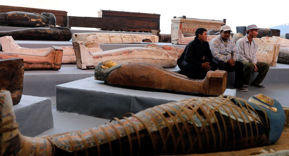 Sarcophaguses that are around 2500 years old, from the newly discovered burial site near Egypt's Saqqara necropolis, are seen during a presentation in Giza, Egypt November 14, 2020.
