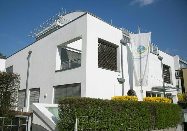 Picture taken on April 11, 2018 shows the headquarters of the International Biathlon Union (IBU) in Salzburg, Austria.