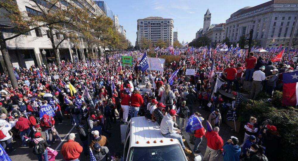 Supporters of President Donald Trump rally at Freedom Plaza on Saturday, Nov. 14, 2020, in Washington.