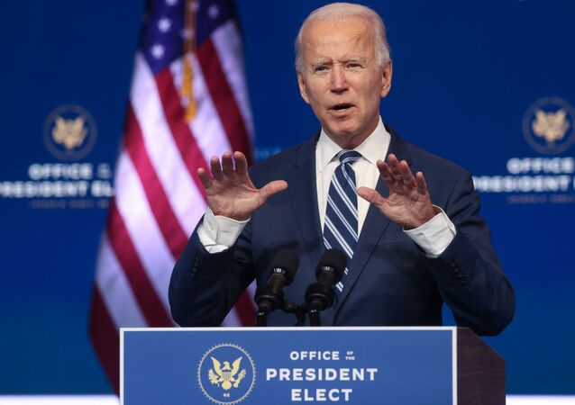 U.S. President-elect Joe Biden speaks about health care and the Affordable Care Act (Obamacare) during a brief news conference at the theater serving as his transition headquarters in Wilmington, Delaware, U.S. November 10, 2020.