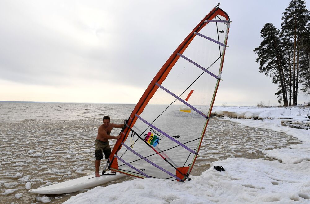 Russian-Style Windsurfing in Freezing Cold Siberia