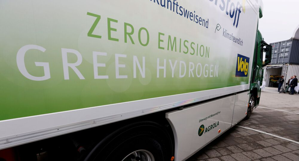 A new hydrogen fuel cell truck made by Hyundai is pictured ahead of a media presentation for the zero-emission transport of goods at the Verkehrshaus Luzern in Luzern, Switzerland. File photo
