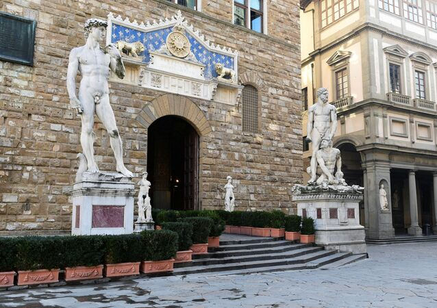 Copy of Michelangelo's David is seen at the entrance of Palazzo Vecchio  in Florence, Italy. File photo