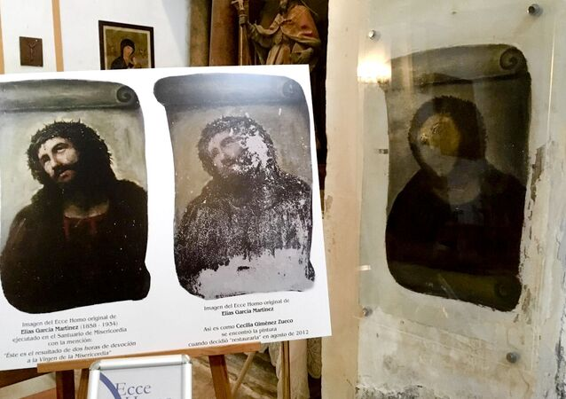 View of the deteriorated version of 'Ecce Homo' mural by 19th century painter Elias Garcia Martinez, right, next to a copy of the original, left, at the Borja Church in Zaragoza, Spain, Wednesday, March 16, 2016. More than three years after a botched fresco restoration by an octogenarian painter became a major tourist attraction for the northern Spanish town of Borja, local officials are looking to inject new life into the phenomenon with the opening Wednesday of a new information center that documents the fresco's success and aims to attract more visitors.