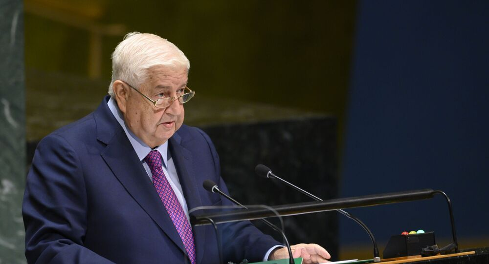 Syria's Foreign Minister Walid Muallem speaks at the 74th session of the United Nations General Assembly September 28, 2019, in New York.