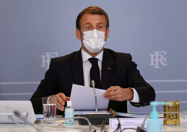 French President Emmanuel Macron attends a defence council on the coronavirus pandemic at Elysee Palace in Paris, France November 12, 2020