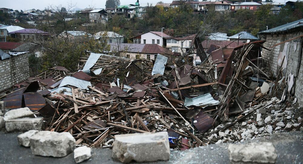 A view shows a damaged building in Stepanakert, the self-proclaimed Nagorno-Karabakh Republic