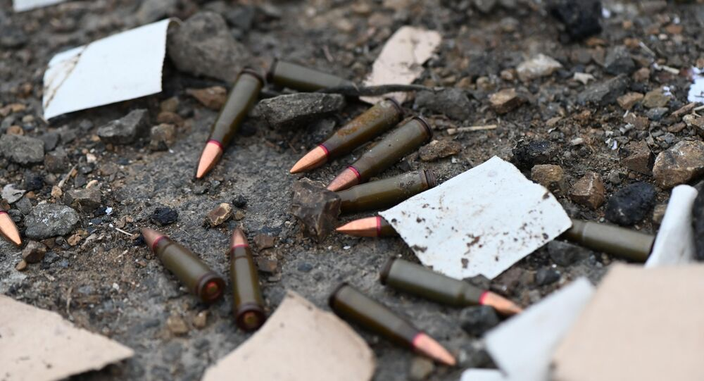 Bullets are seen on the road, in the self-proclaimed Nagorno-Karabakh Republic