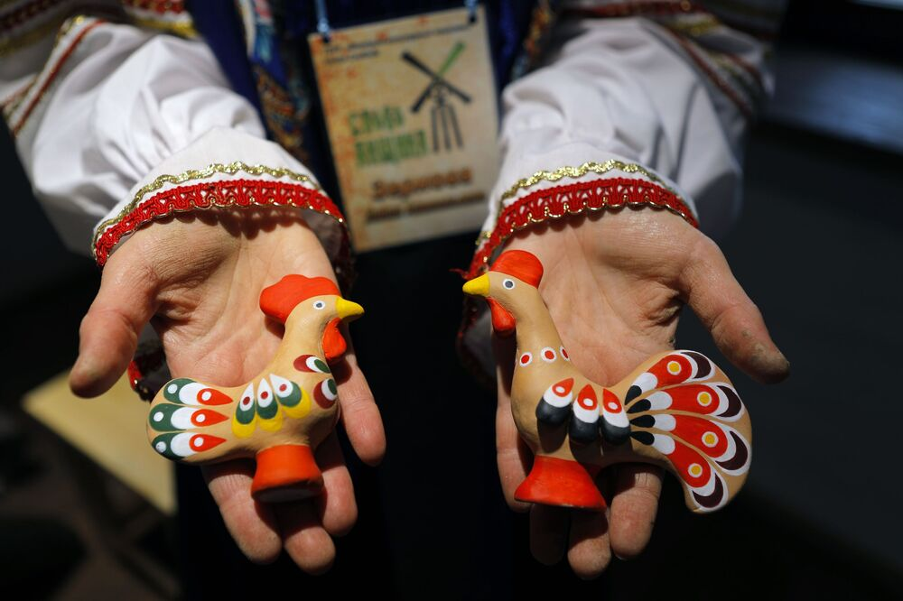 Earthen figures made during a master class at the Slobozhanschina ethno village in the Belgorod Region.