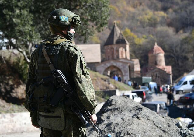Russian peacekeepers deployed in the Nagorno-Karabakh region