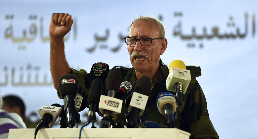 Brahim Ghali, newly elected Polisario secretary general and president of the self-proclaimed Sahrawi Arabic Democratic Republic, delivers a speech during the PF's extraordinary congress on July 9, 2016 at the Sahrawi refugee camp of Dakhla