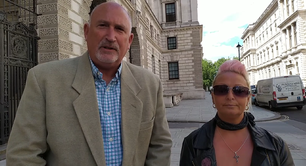 Harry Dunn's mother and family representative Radd Seiger being interviewed by Mohamed Elmaazi outside the FCO building during US Secretary of State Mike Pompeo's visit on 21 July 2020.