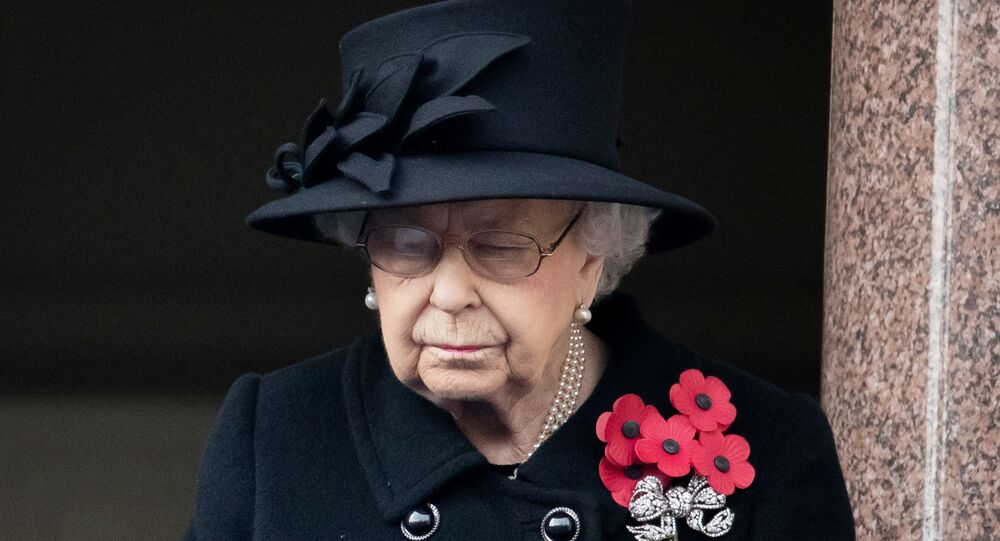 Queen Elizabeth attends the National Service of Remembrance at The Cenotaph on Whitehall in London, Britain 8 November 2020.