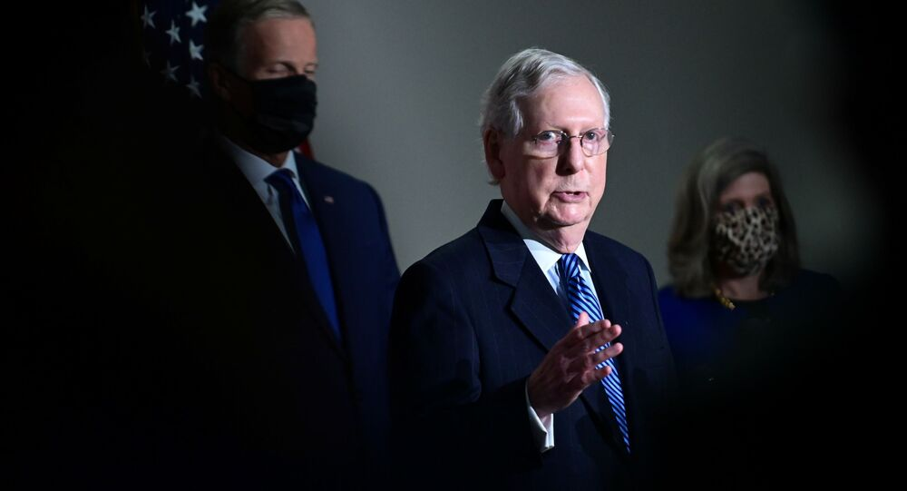 U.S. Senate Majority Leader Mitch McConnell (R-KY) speaks after a Senate republican luncheon on Capitol Hill in Washington, U.S., November 10, 2020.