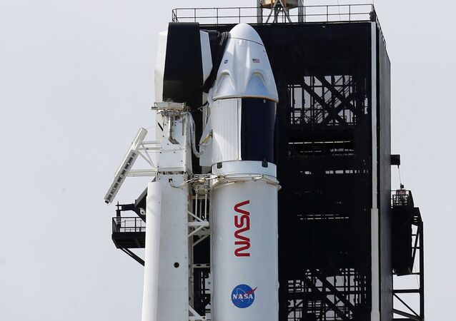 A SpaceX Falcon 9 rocket, topped with the Crew Dragon capsule, is readied to carry four astronauts on the first operational NASA commercial crew mission at Kennedy Space Center in Cape Canaveral, Florida, 13 November 2020