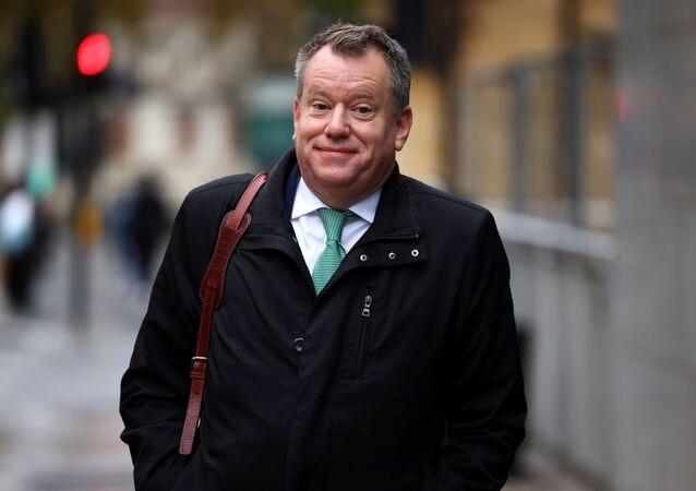 Britain's Chief negotiator to the EU David Frost walks to Brexit trade negotiations, in London, Britain, November 13, 2020