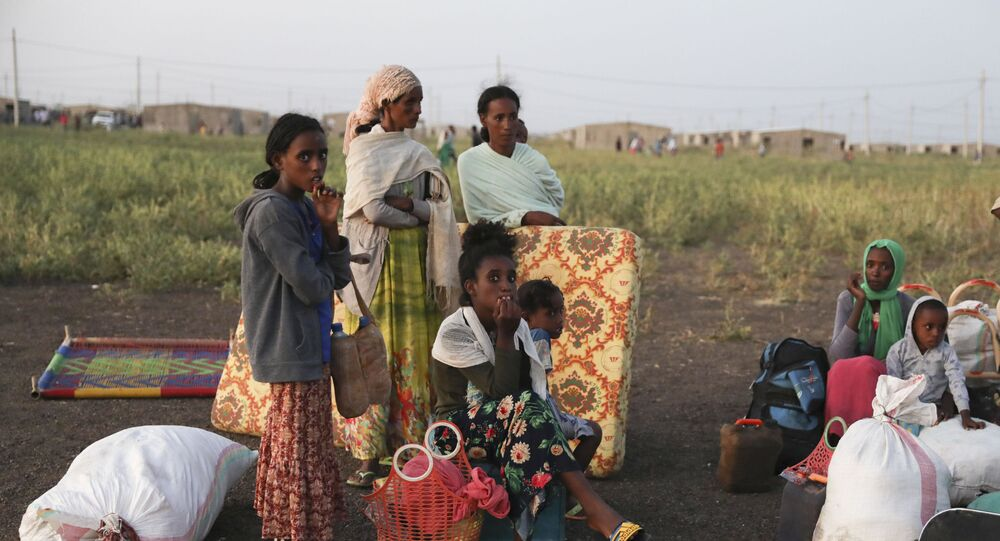 Refugees gather in Qadarif region, eastern Sudan, having fled the war in Ethiopia's Tigray region.