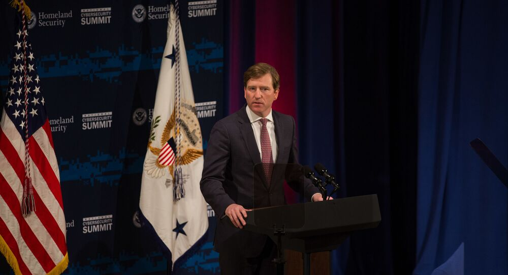 In this file photo taken on July 30, 2018 U.S. Department of Homeland Security Under Secretary Chris Krebs speaks during the Department of Homeland Security's Cybersecurity Summit on July 31, 2018 in New York City. - US President Donald Trump fired Chris Krebs, Director of the Cybersecurity and Infrastructure Security Agency in the Department of Homeland Security, in a tweet on November 17, 2020