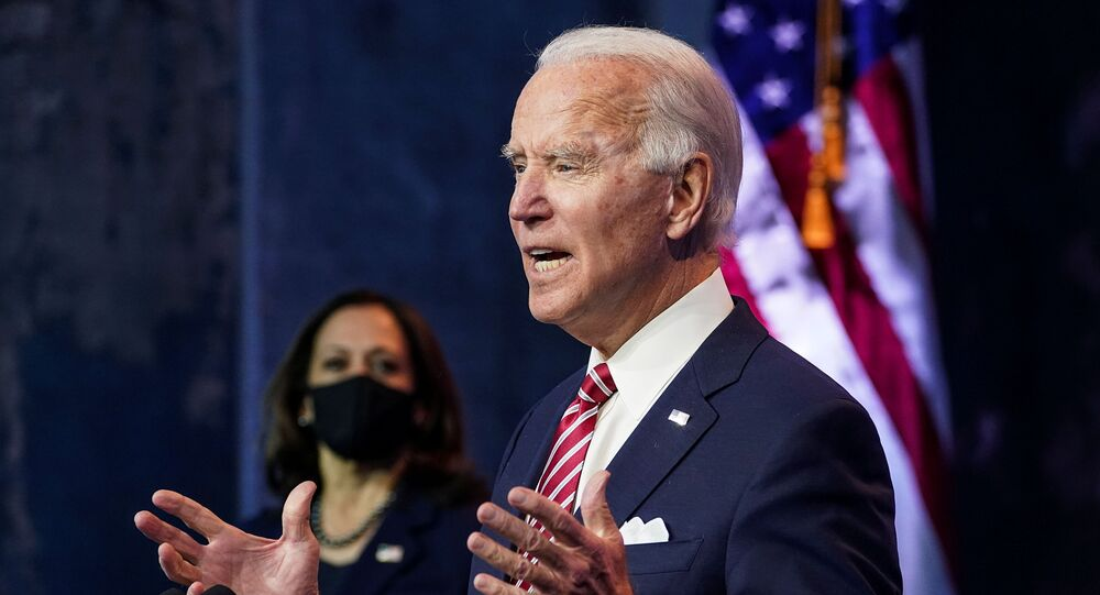 U.S. President-elect Joe Biden speaks about the U.S. economy as Vice President-elect Kamala Harris stands by following their briefing with economic advisers in Wilmington, Delaware, U.S., November 16, 2020.