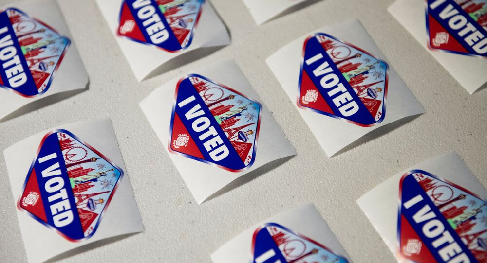 I Voted stickers are seen at a polling location where Hyla Winters works in Las Vegas, Nevada, U.S., October 29, 2020. Picture taken October 29, 2020.