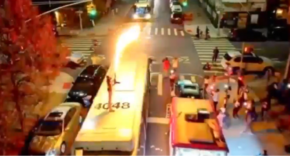 Flamethrower-wielding rapper on top of occupied NYC bus faces some heat