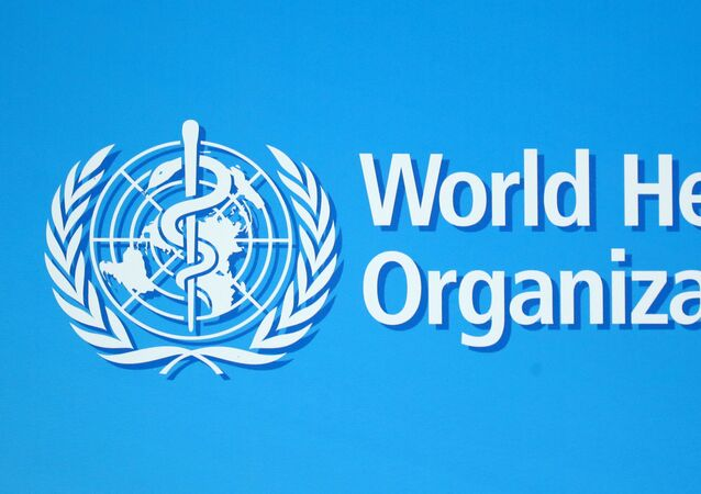 A logo of the World Health Organization (WHO), is seen before a news conference in Geneva, Switzerland, June 25, 2020.
