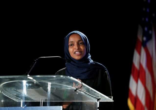 Democratic congressional candidate Ilhan Omar speaks at the DFL election night watch party in St. Paul, Minnesota, U.S. November 3, 2020.