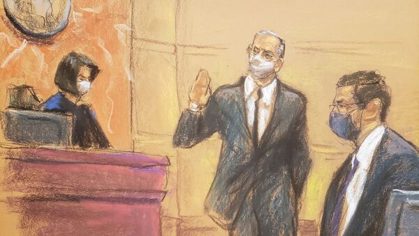 Mexico's former Defense Minister Salvador Cienfuegos appears before Judge Carol Bagley Amon and next to acting United States Attorney for the Eastern District of New York Seth DuCharme during a hearing to consider a U.S. government request to drop drug charges, in a courtroom sketch in the Brooklyn borough of New York City, U.S. November 18, 2020 - Sputnik International